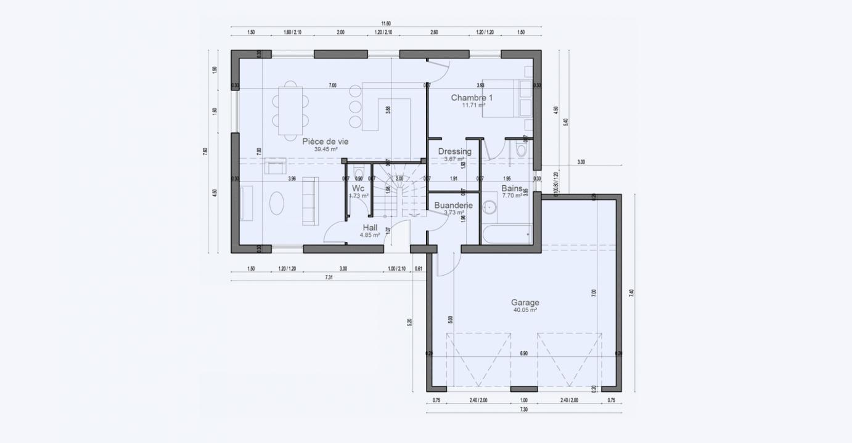 Plan Maison Rez De Chaussee Garage Condo 711 191320365805/ BONIFACIO 144 5