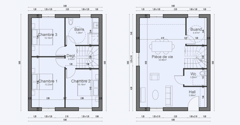 Plan Maison Petites Parcelles Etage Condo 608 191320401105/ BONIFACIO 87 3