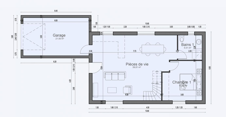Plan Maison Comble Amenage Garage Cottage 610 191320301405/ Cottage 610