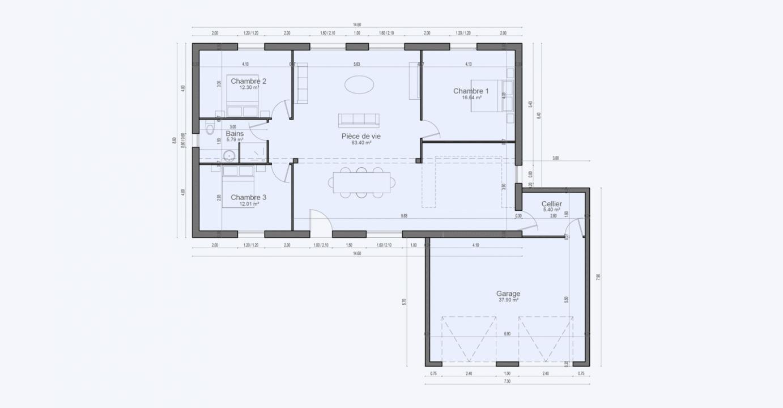 Plan Maison Plan Pied 4 Pieces Garage Garden 814 191320333705/ Garden 814