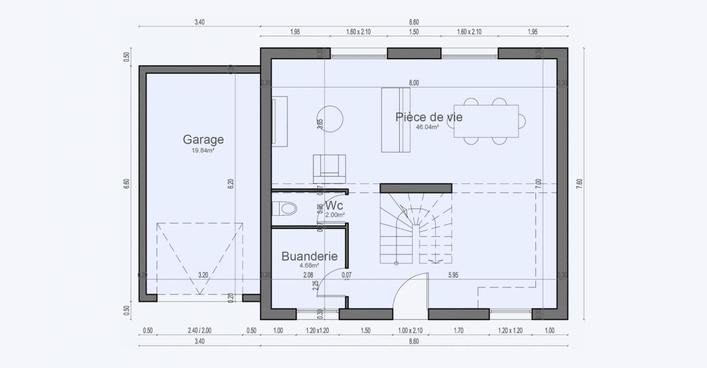 Plan Maison Rez De Chaussee Comble Garage Cottage 807 191320254905/ PROPRIANO 94 3