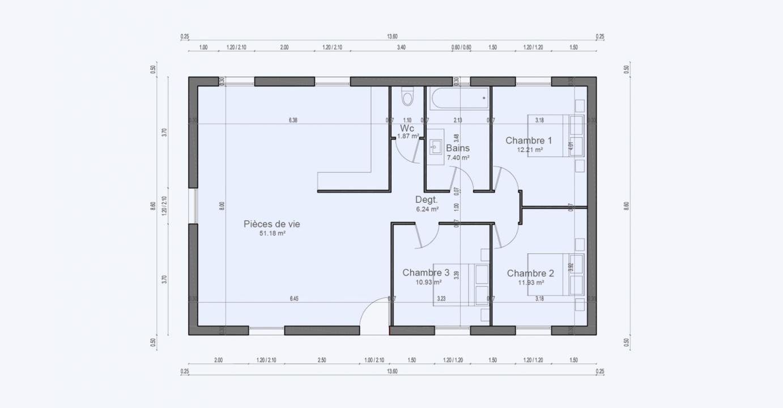 Plan Maison Plan Pied Garden Primo Accedant Garden 813 191320303905/ SOLENZARA 100 3
