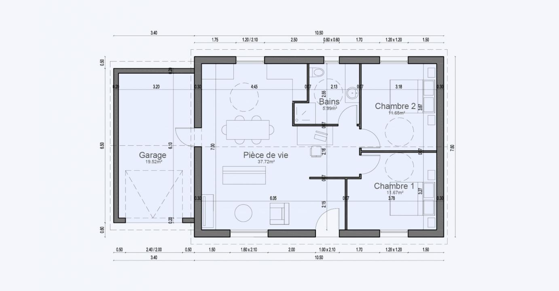 Plan Maison Plan Pied Garage Tiny House Garden 710 191320240905/ SOLENZARA 67 2