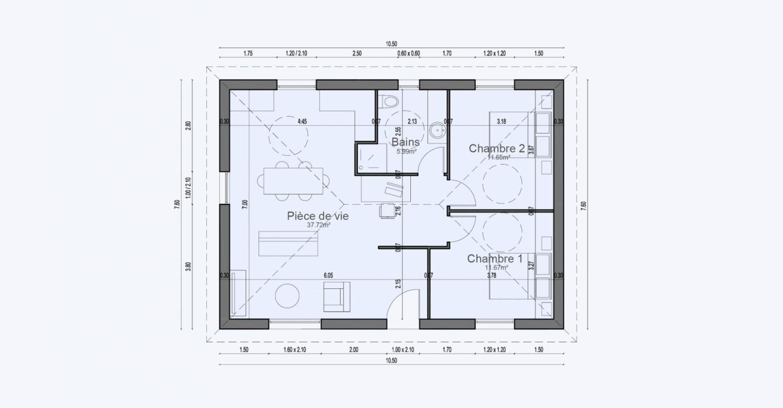 Plan Maison Plan Pied Tiny House Garden 710 191320282105/ SOLENZARA 67 2